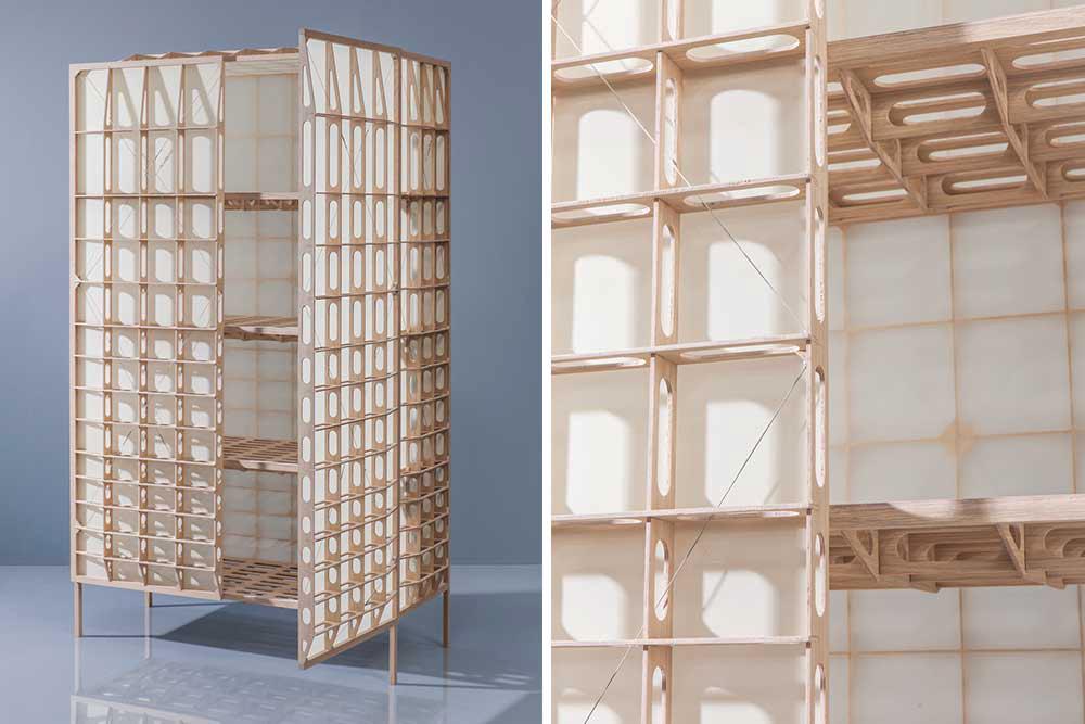 Mieke Meijer, Airplane Wings inspired, Airframe 01, Dutch design, Eindhoven, oak veneer, Baars Bloemhoff, lightweight cupboard, storage cabinet