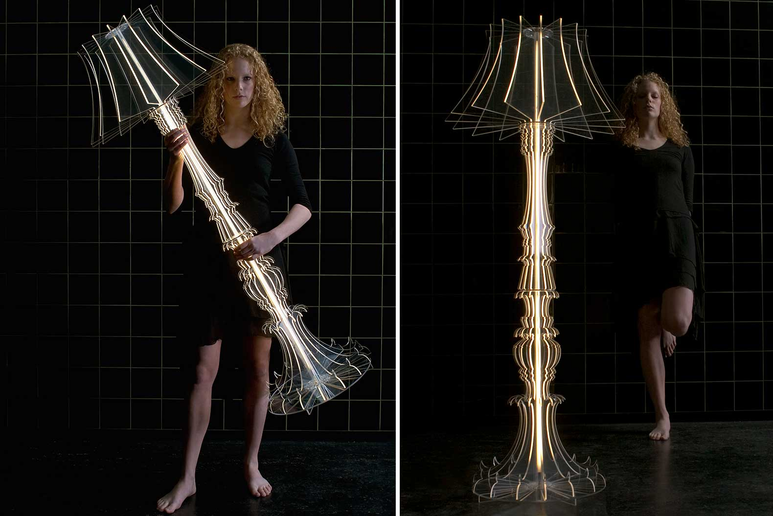 Sander Mulder, ghostly lamp, Josephine floor lamp, transparent acrylic, acrylic furniture, color filters, glowing design,