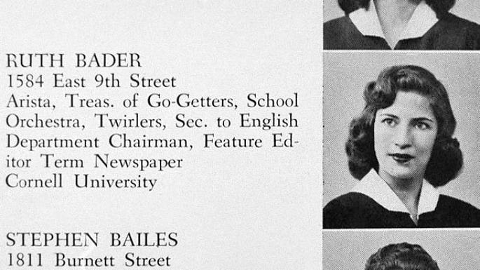 Ruth Bader Ginsburg yearbook photo