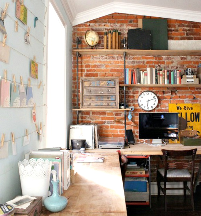 brick wall-bookshelves