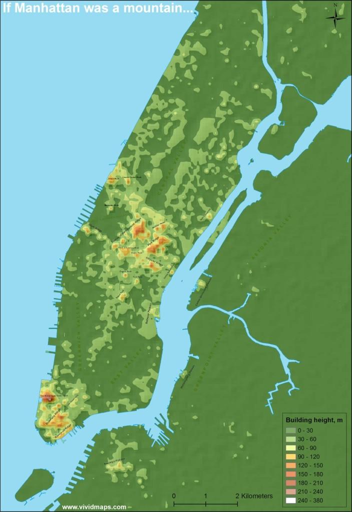 If Manhattan Was a Mountain, Manhattan maps, Vivid Maps