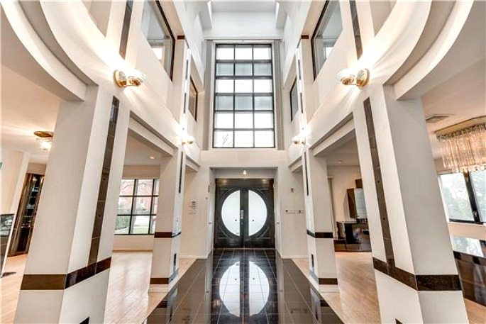 Modern Mansion Foyer : Post modern bronx mansion with foot atrium and