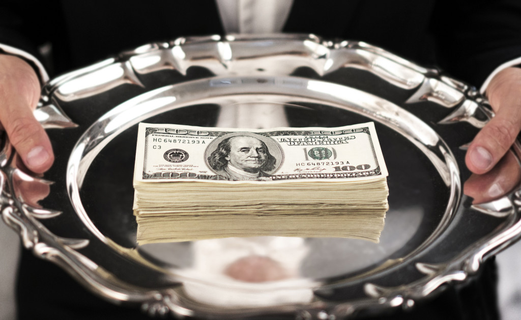 cash, money on tray