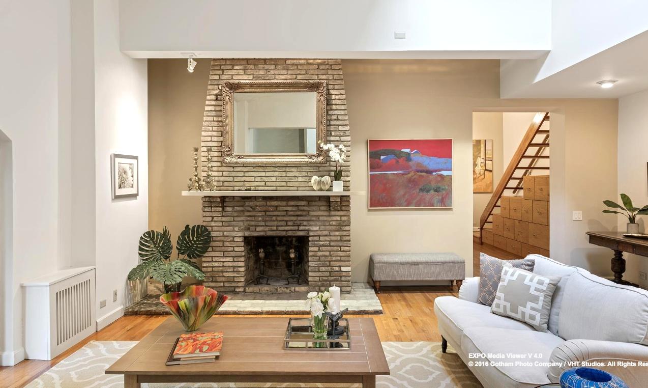 25 joralemon street, brooklyn heights, living room, fireplace