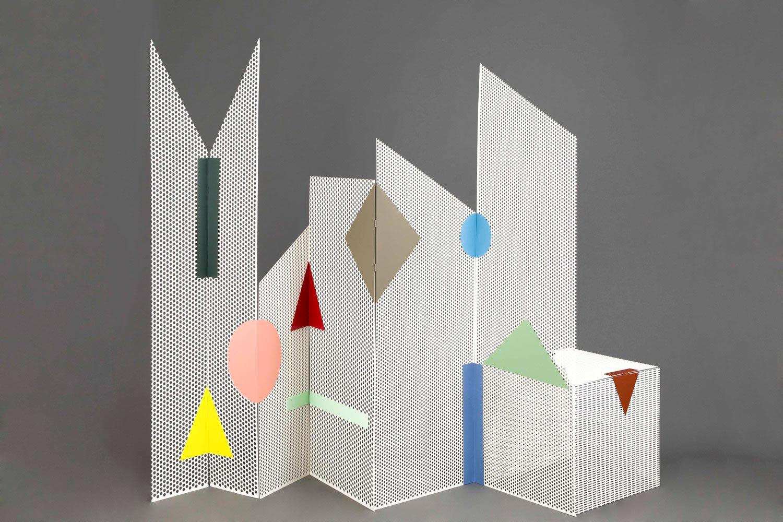 Ana Arana, room divider, Tromploeil, geometric design, playful design, Spanish design, attached with magnets,