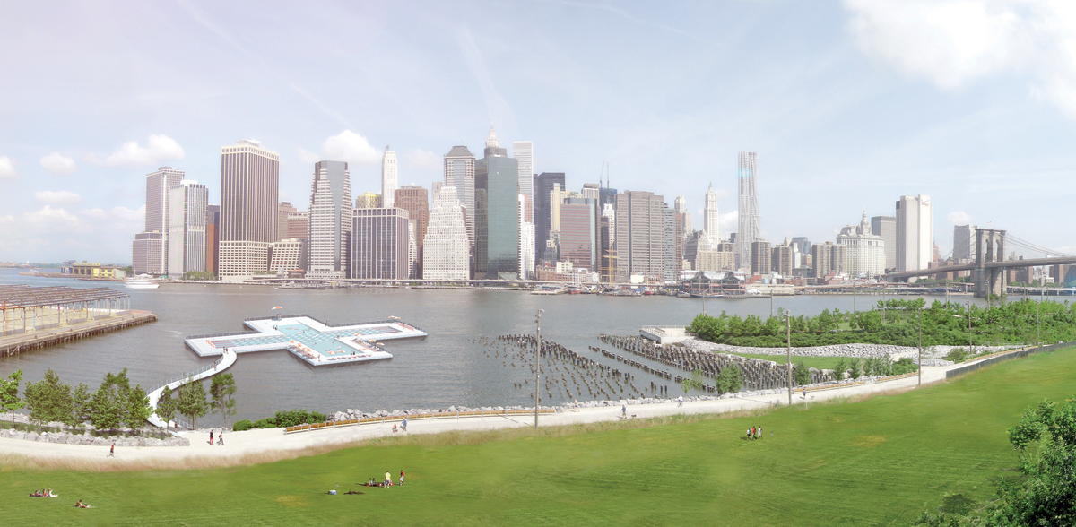 The city wants to put a self-filtering floating swimming pool on the East River