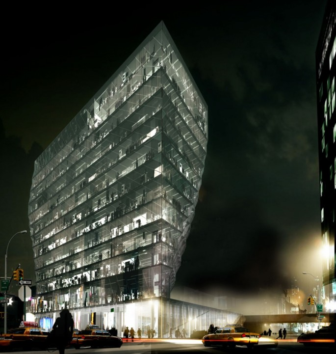 A night view rendering of the Solar Carve tower. Image © Studio Gang Architects