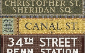 collage of subway mosaic signs