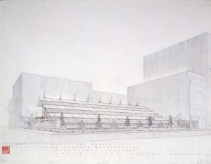 A pencil rendering of the Usonian Exhibition.