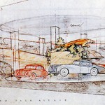 An illustration of the Frank Lloyd Wright auto showroom.