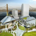 A rendering of the future campus center at Cornell Tech on Roosevelt Island.