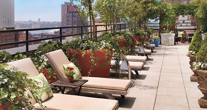 Sky Terrace Hudson Hotel, 356 West 58th Street. Opening for the season on May 20, the Sky Terrace on the 15th floor of the Hudson Hotel prides itself on its river views right down to the Statue of Liberty. Hanging ivy, trees and potted plants create the perfect atmosphere for enjoying their menu of ten specialty sangrias.