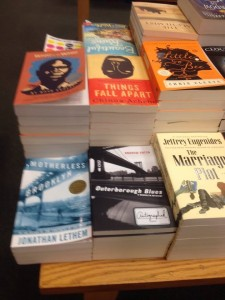 Andrew Cotto's novel, Outerborough Blues: A Brooklyn Mystery -  front, center - at Barnes & Noble.
