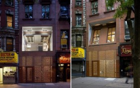 The retractable facade of the East Village apartment