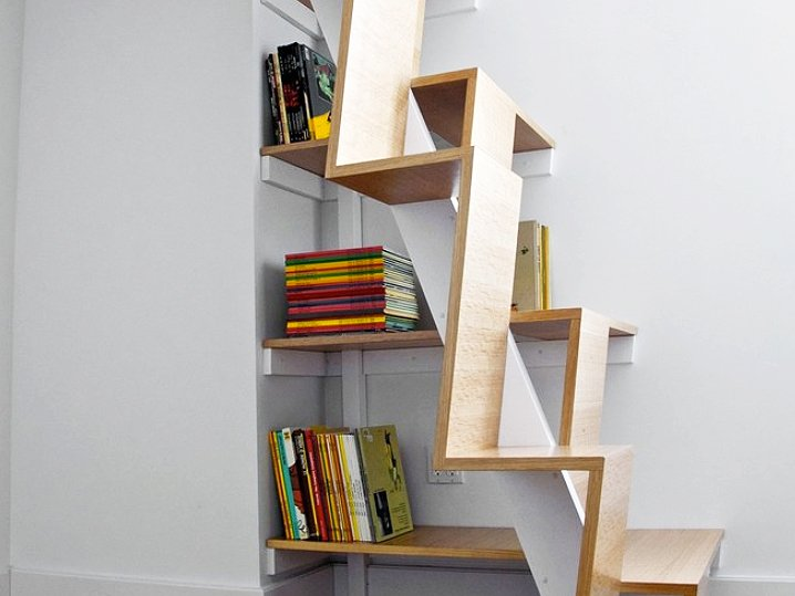 Brooklyn apartment condo stairs bookcase loft bed M modern design