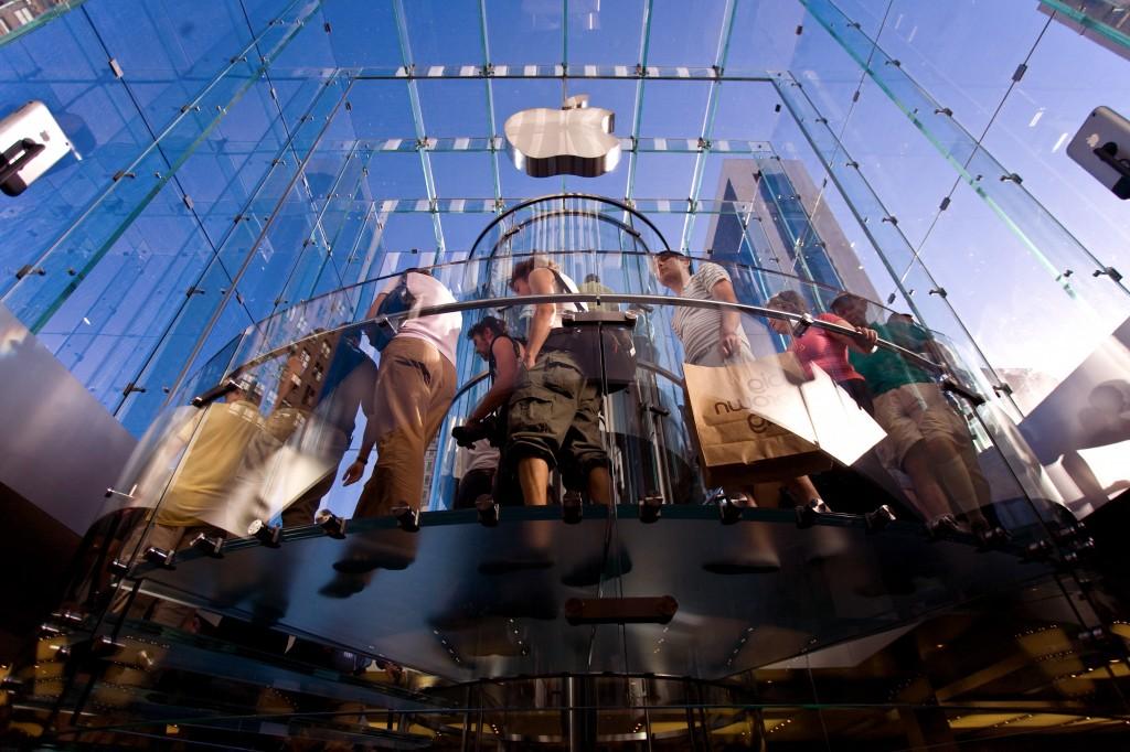 Apple Steve Jobs stairway fifth avenue cube glass spiral