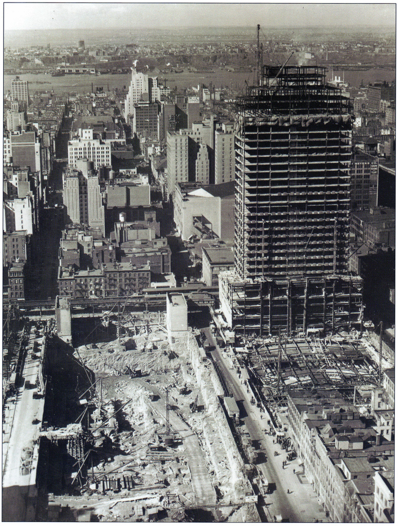 Here is what Rockefeller Center looked like in December 1931, as Radio City Music Hall was being built and the ground was being excavated for the RCA Building.