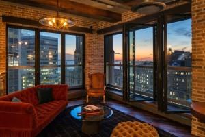 Setai Wall Street, Alex Birkenstock apartment, apartment interior, Steve Harivel design, walls of windows, 40 Broad Street