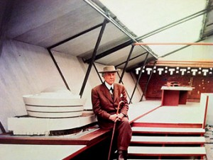 frank lloyd wright at his unisonian home pavilion in nyc