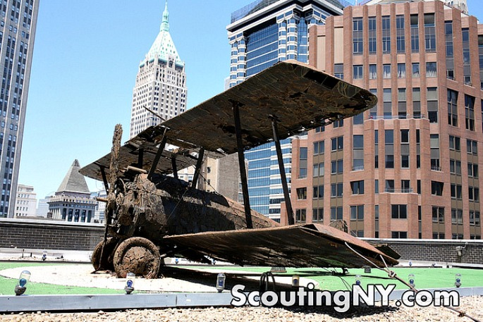 WWI fighter plane, 77 Water Street, British Sopwith Camel, NYC public art, William Kaufman Organization