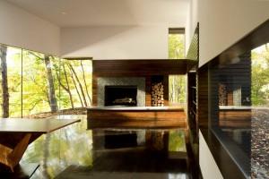 Cooper Joseph Studio, Writer's Studio, Ghent New York, writer's retreat, modern upstate cabins, walnut fireplace