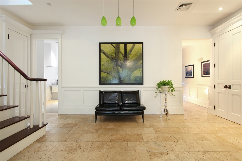 Brooklyn carriage houses, modern carriage house, 407 Vanderbilt Avenue, travertine floors