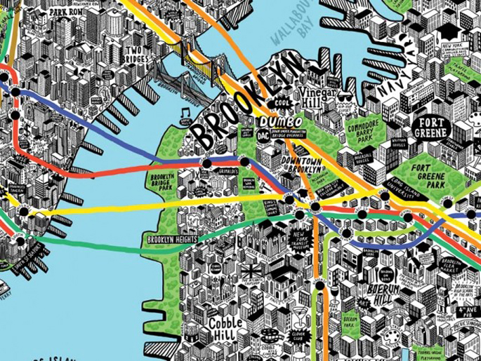 nyc hand drawn map, jenni sparks, nyc map, cool nyc maps, illustrated nyc maps