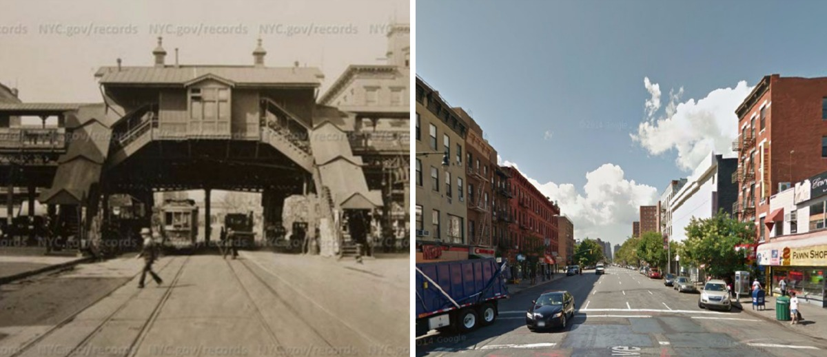 116th Street and Third Avenue, East Harlem historic photos, elevated train in Harlem, NYC then and now photos