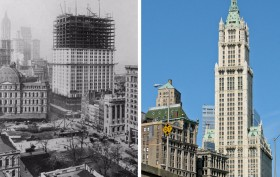 Woolworth Building, historic photos of the Woolworth Building, NYC then and now photos, historic NYC photos