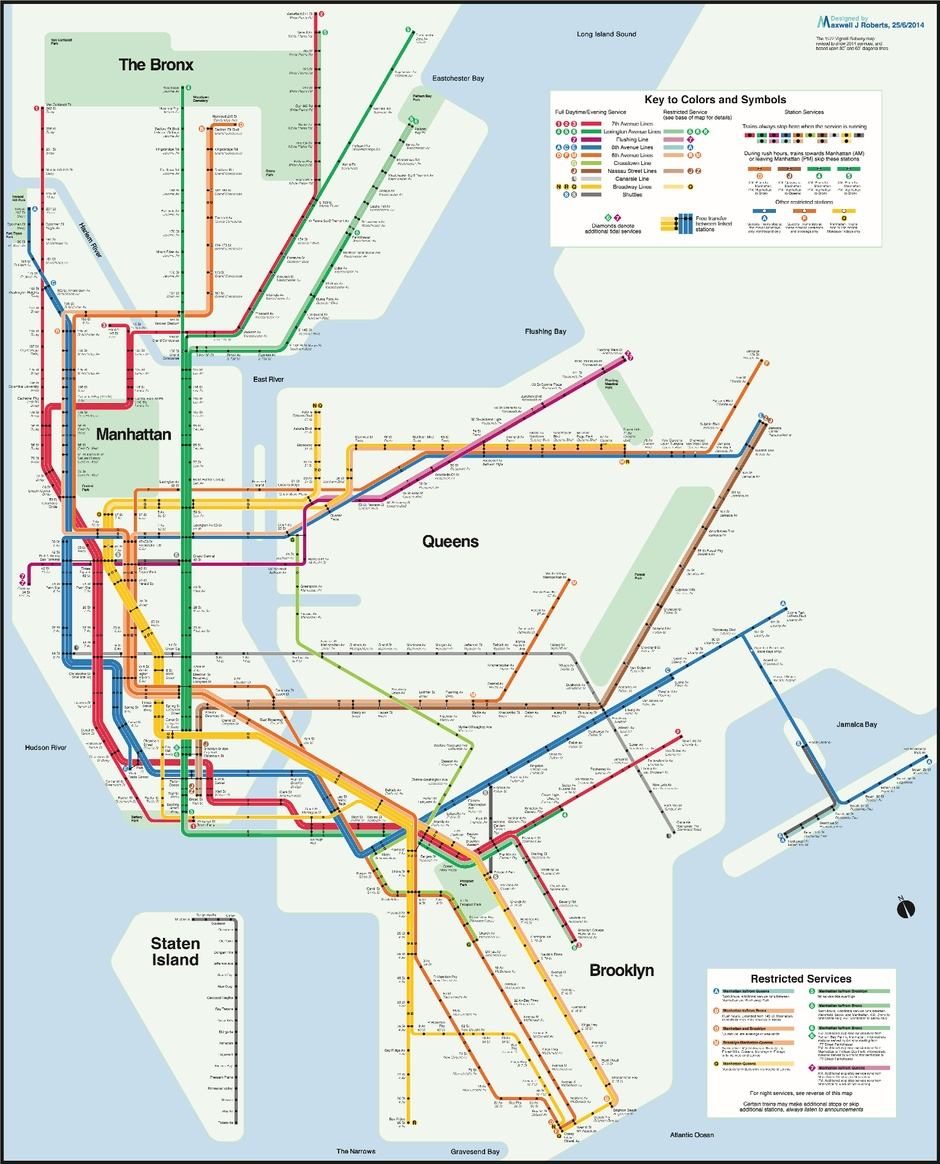 Massimo Vignelli 1972 Nyc Subway Map.Subway Map Enthusiast Creates A More Geographically Correct Version