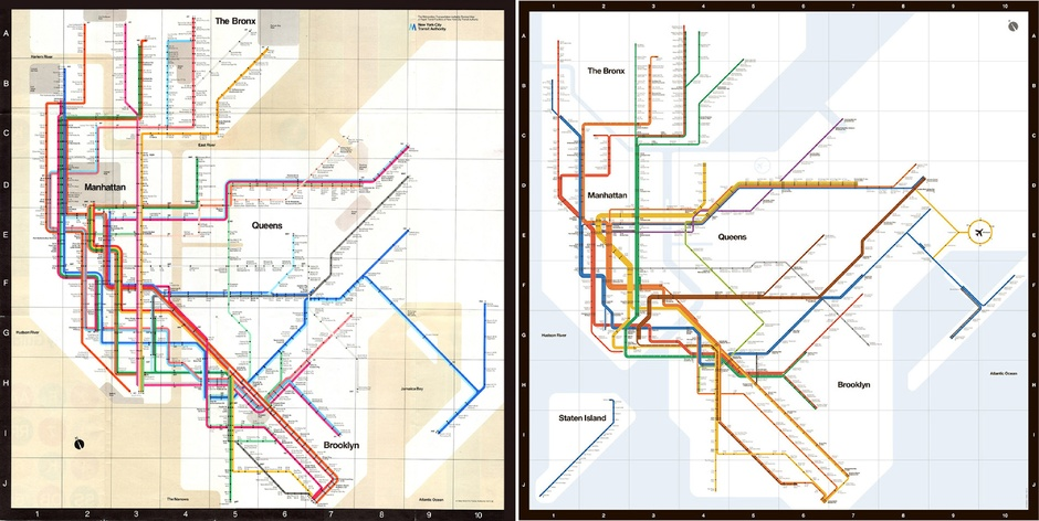 Massimo Vignelli, NYC Subway Maps, NYC Vignelli map, underground subway maps