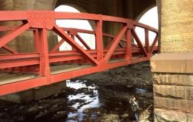 pedestrian bridge to Randall's island, Bridge from Bronx to Randall's island, construction on bridge