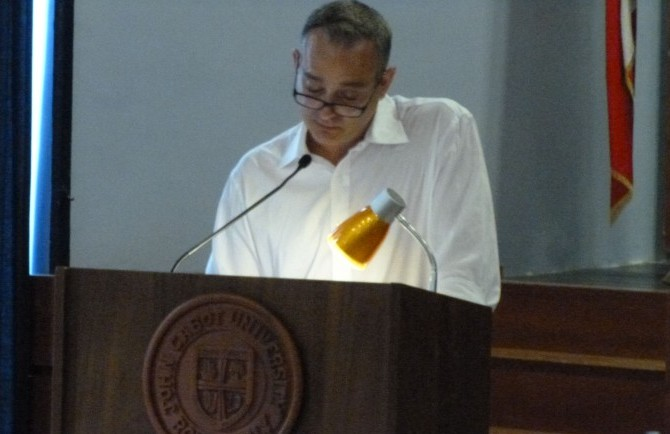 Andrew reads at John Cabot University on 7/9/2014.