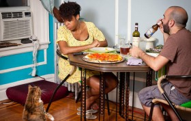cat begs for food, dinner in NYC, miho aikawa