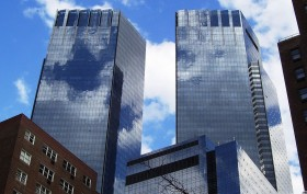 NYC glass towers, Time Warner Center, glass construction, Skidmore Owings & Merrill