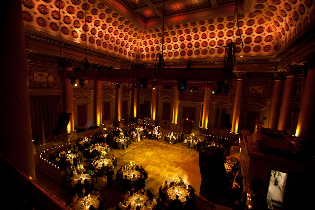 A wedding taking place inside Capitale New York, formerly the Bowery Savings Bank.
