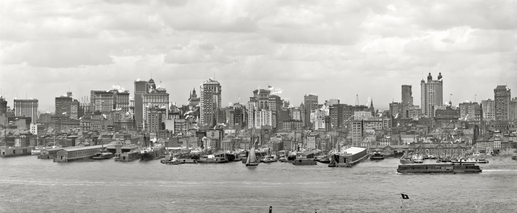 Not so much a skyline as simply a panorama shot of New York, this 1906 photo shows Manhattan just before the skyscraper boom really got started.
