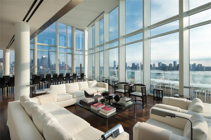 165 Charles Street PH interior, Richard Meier designed, Louise Blouin home
