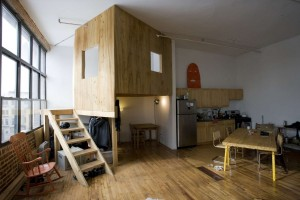Terri Chiao and Adam Frezzo, A Cabin in A Loft, Brooklyn arist spaces, indoor treehouse