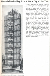 News story announcing the upcoming all-glass design by Frank Lloyd Wright, later canceled