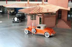 A full-size model of Frank Lloyd Wright's unbuilt gas station design