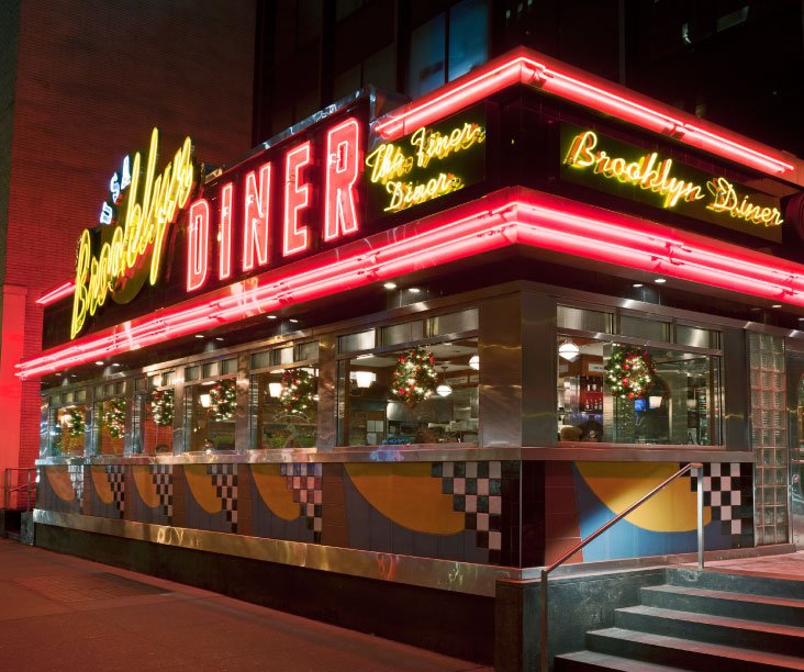 Neon metal and patty melts a look at old school new for American classic diner