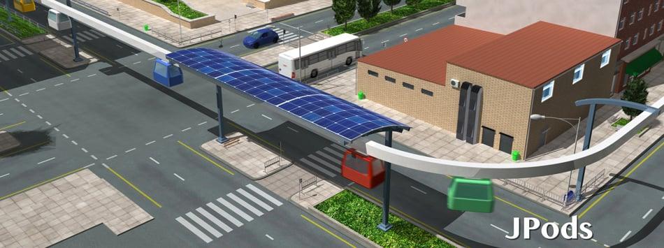 Solar-Power Commuter Pods, jpods, jpods new jersey, holland tunnel traffic, george washington bridge traffic, solar power transportation, eco transportation, jpods
