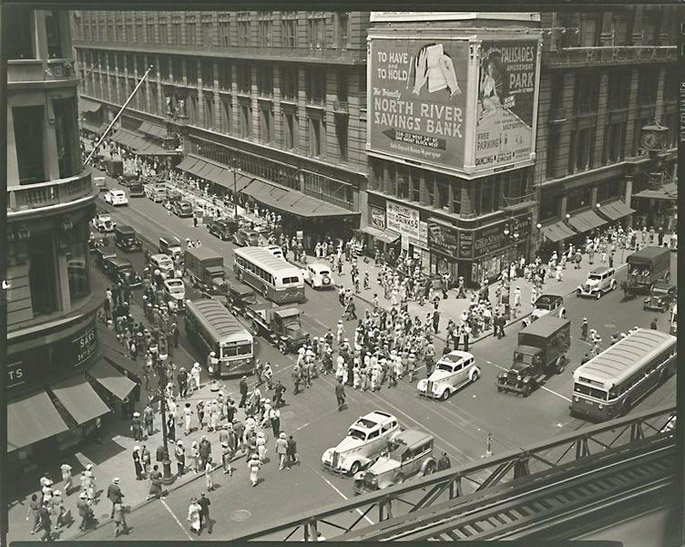 Herald Square-Looking Down-Berenice Abbott-6th Avenue El-NYC