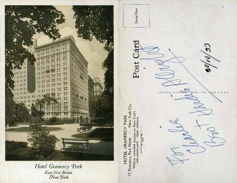 1933 gramercy park hotel postcard