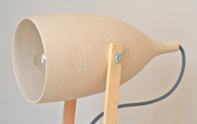 Federica Bubani, Nordic Lamp, scandinavian aesthetics, ceramic and wood, Italian design, table lamp