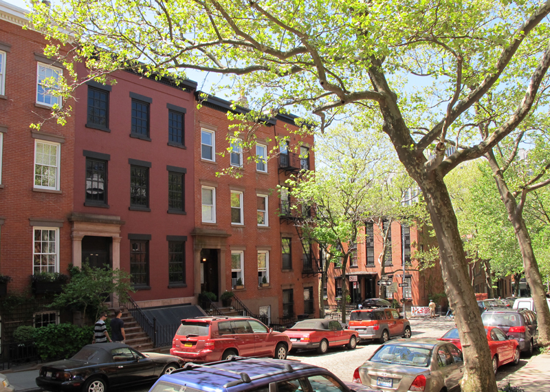 brooklyn heights, brownstones, brick townhouses, row houses
