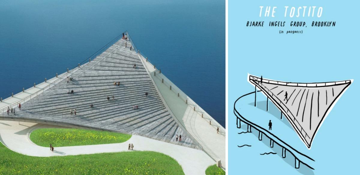 Nicholas Blechman, Gastro-Architecture, reimagined landmarks, Brooklyn Bridge Park viewing platform