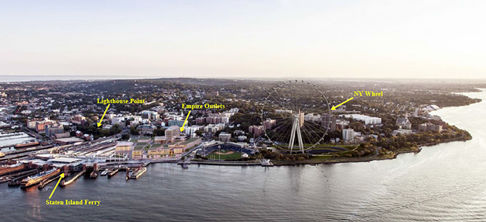 St. George Redevelopment Project, Staten Island waterfront, New York Wheel, Empire Outlet Mall, Lighthouse Point