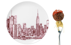 new york skyline plate, nyc plate, nyc dinner plate, skyline dinner plate